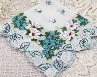 Vintage  Hankie Large White with Turquoise Floral  #T-7