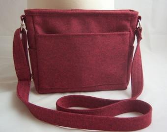 Cranberry Wool Heather Melange Wool Cross Body Bag - Small