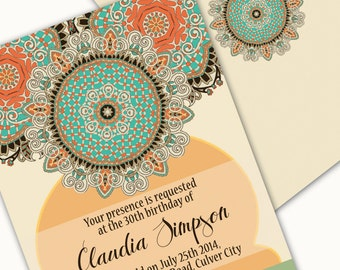 Printable Invitation- Arabesque Design, Mosaic Inspired, Arabian Nights