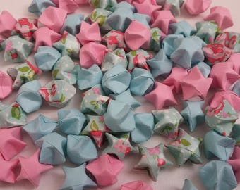 Set of Liberty-pink-blue stars origami