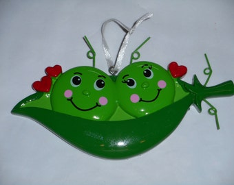 Two Peas in a Pod Personalized Ornament