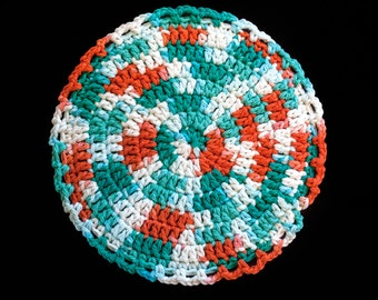 100% Cotton Hand Crocheted Pot Holder Hot Pad Doily Trivet Color: AHOY