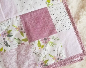 Floral wholecloth quilt- Purple, white, floral, flowers, green, baby girl, modern, nursery crib  bedding