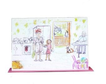 Grandma's Kitchen Watercolour Print Handmade Gift Card