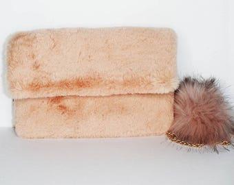Faux Fur Clutch With Pom Pom
