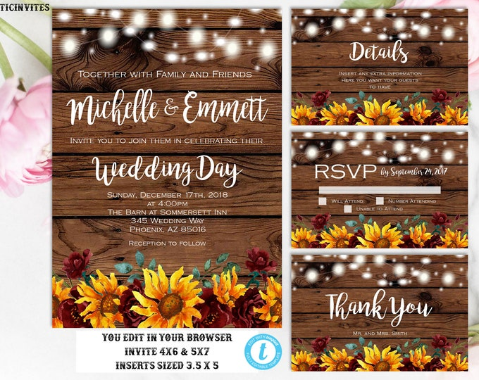 Sunflower Burgundy Merlot Rustic Wedding Invitation Template Set Instant Download Editable Printable You Edit Set, Country Vintage Sunflower