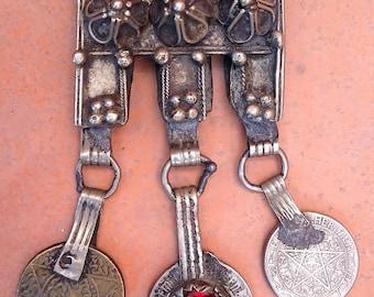 Berber Filigrein Amulet Prayerbox Pendant, with Coins & Red Glass, Moroccan Sahara
