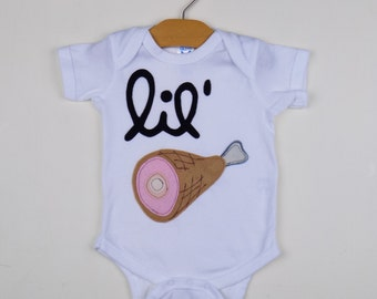funny, trendy, easter, bodysuit, hipster, baby clothes, baby gift ideas, applique onesie, ham, food, unisex onesie, unique baby gift