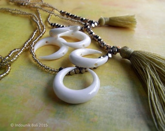 Mini Horns of My Dilemma Carved Bone Double Drilled Crescent Bead 20mm