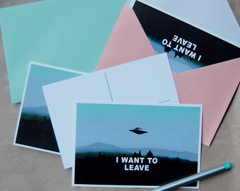I WANT TO LEAVE postcard
