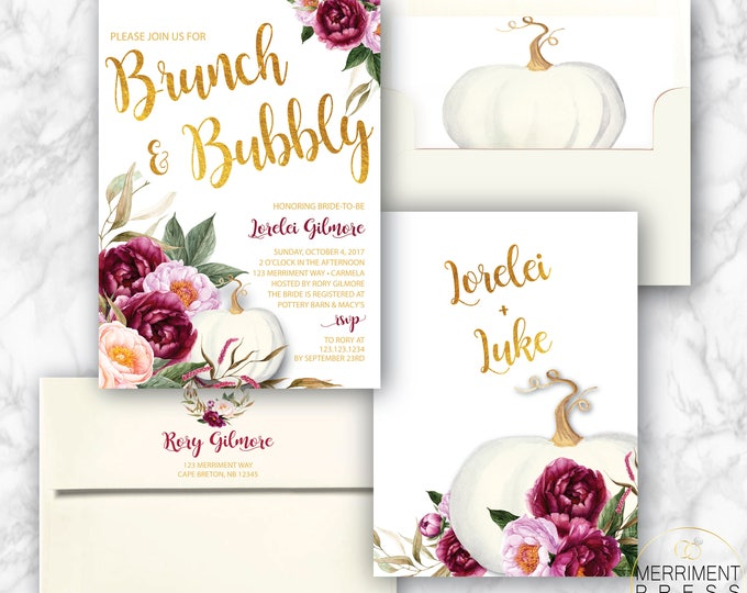 Burgundy Pumpkin Brunch & Bubbly Invitation // White Pumpkin // Fall Bridal Shower // Brunch with the Bride // Maroon // CARMEL COLLECTION