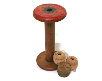 Vintage Wood Spool  /  Thread Textile Spindle for Home or Sewing Decor  /  Industrial Bobbin for a Collector