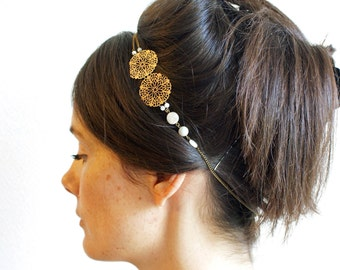 "Headband wedding Pearl & brass ""Features"" Pemberley jewelry / headband / Bohemian Headband / Headband Gatsby / jewelry / handmade"