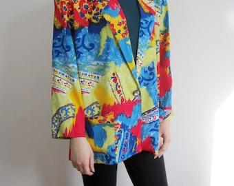 vintage 80s 90s Psychedelic print blazer jacket