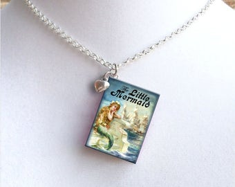 The Little Mermaid with Tiny Heart Charm - Miniature Book Necklace - Style 2
