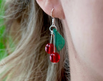 Cherry cherries earrings with light green or dark green leaves in silver - rockabilly / pinup / rock'roll - handmade