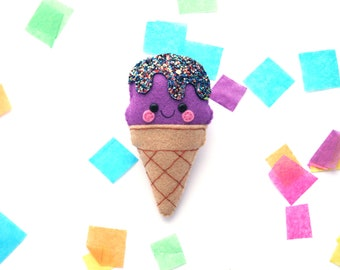 Purple Sparkle Ice Cream Felt Brooch, Cute Pins, Handsewn, Sparkly Glitter Accessory