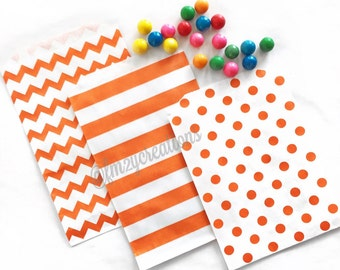 Halloween Party | Halloween Party Favors |  ORANGE Favor Bags (5x7) | Orange Popcorn Bag | Treat Bags | Classroom Party Goodie Bags