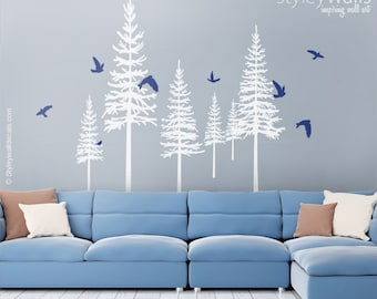 Pine Trees Winter Trees Wall Decal, Pine Trees and Birds Wall Decal for Living Room Home Decor, Fir Trees Wall Decal