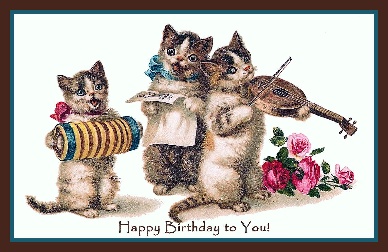 Three Cats Instruments Happy Birthday Refrigerator Magnet