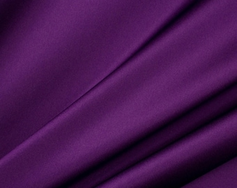 "Silk Cotton Charmeuse Fabric, 16mm, 55"", purple color by the yard"