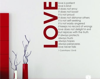 Love Is Patient (Love Chapter) Wall Decal Quote - Vinyl Text Wall Words Stickers Art Custom Home Decor