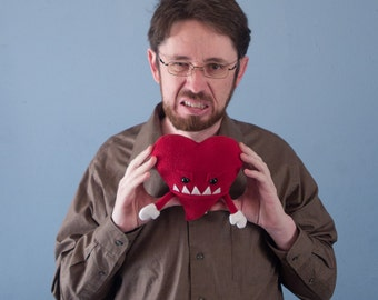 Small Plush Valentine's Grumpy Heart - Red
