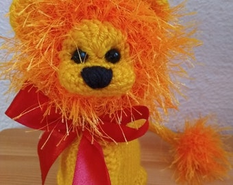 Ready made 15 cm Knitted Lion, Soft Toy