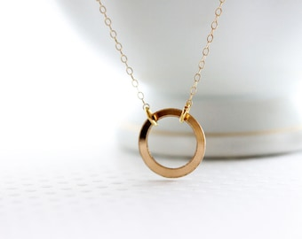 Karma Choker Necklace Small Gold Circle Necklace Tiny Gold Ring Necklace Simple Everyday Necklace