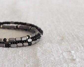 Hematite beads bracelet, gift, three strand bracelet, Beaded Jewelry, Mother's Day, gray, black, silver, czech fire-polish, charm, 3 strand