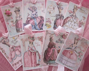 Easter Gtreetings Pretty Marie Antoinette Gift Tags ~ Glitter ~ Ribbon 8