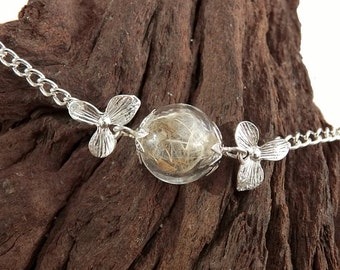 Real Dandelion Bracelet, Dried Dandelion Seeds, Flower Jewelry