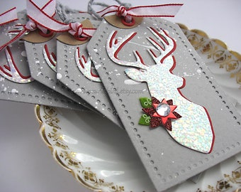 Christmas Gift Tags~Fabulously Glam Holiday Deer Deluxe Gift Tags~set of 4~Folkart Style~Cottage Style