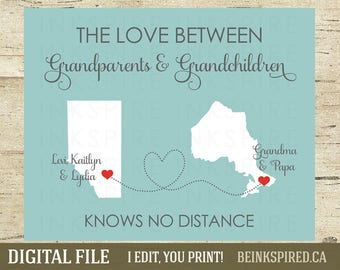 Long Distance Grandparent Gift, Grandparent Gift, Grandparent Print, Long Distance Family, Personalized Map, Canada & USA, DIGITAL FILE