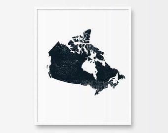 Map Art, Map of Canada, Map Art Print, Printable Art, Black and White Print, Minimalist Art, Ink, Minimalist Print, Map Illustration