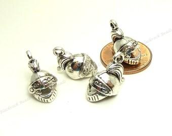 Bulk 18 Knight Helmet Charms ( 3D ) Antique Silver Tone Metal - 18x12mm - Medieval Charms - BP16