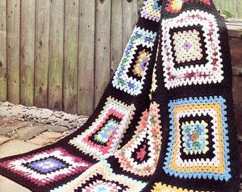 Classic Granny Squares Crochet Blanket Pattern, Oversized Squares