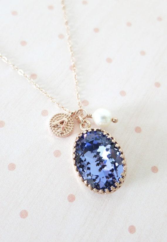 Rose Gold FILLED Swarovski Tanzanite Purple Oval Crystal Necklace, blush pink wedding bridal, bridal bridesmaid gifts, pink gold weddings