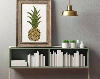 Yellow pineapple fine art print wall decor