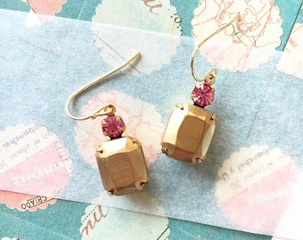 Brass and Swarovski cabochon earrings