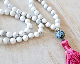 I Am Patient Howlite Mala Necklace - 108 Beads/Howlite Mala Necklace/Mala Beads 108/Mala Bead Necklace/Beaded Necklace/Tassel Necklace