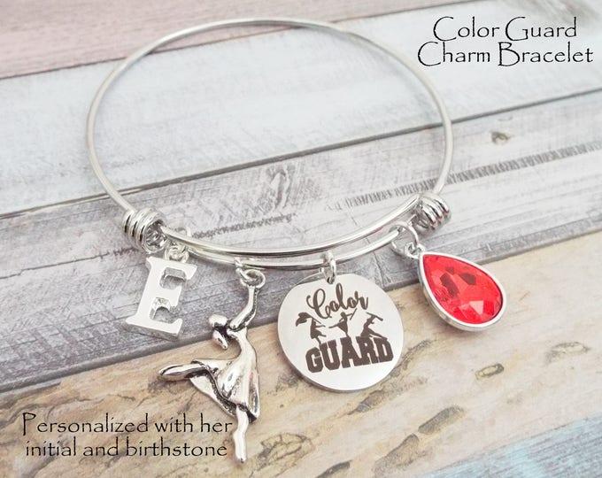 Color Guard Charm Bracelet, Gift for Color Guard Girl, Cheerleader Gift, Gift for Her, Cheerleader Daughter, High School Color Guard