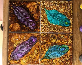Feather Ceramic Tile Coasters (Set of 4)