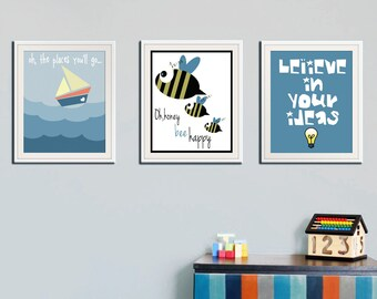Set of 3 wall art, baby boy wall art, nursery printables, baby poster, baby room decoration, playroom art, children room, cool posters, art
