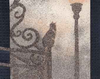 Natural sand painting 24x18 cm Cat, bird and street light