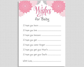 Wishes For Baby Shower Cards, Pink & Grey Floral Mums Baby Shower Activity, Baby Girl, DIY Printable, INSTANT DOWNLOAD