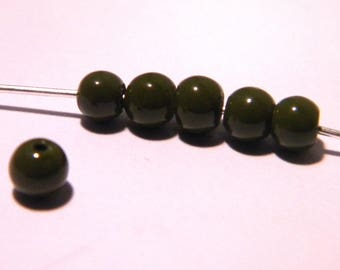 "50 4 mm glass light way ""jade"" beads - olive green - PG177"