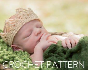 Crochet PATTERN Crown for Boy, All Sizes Newborn through Adult, Crochet Tutorial