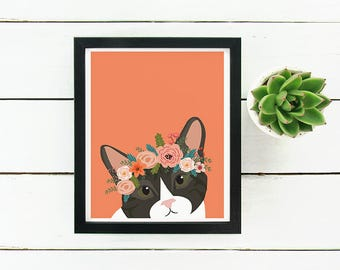 American Shorthair Cat with Floral Crown Art Print
