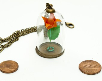 Pendant origami paper orange rose in small glass globe